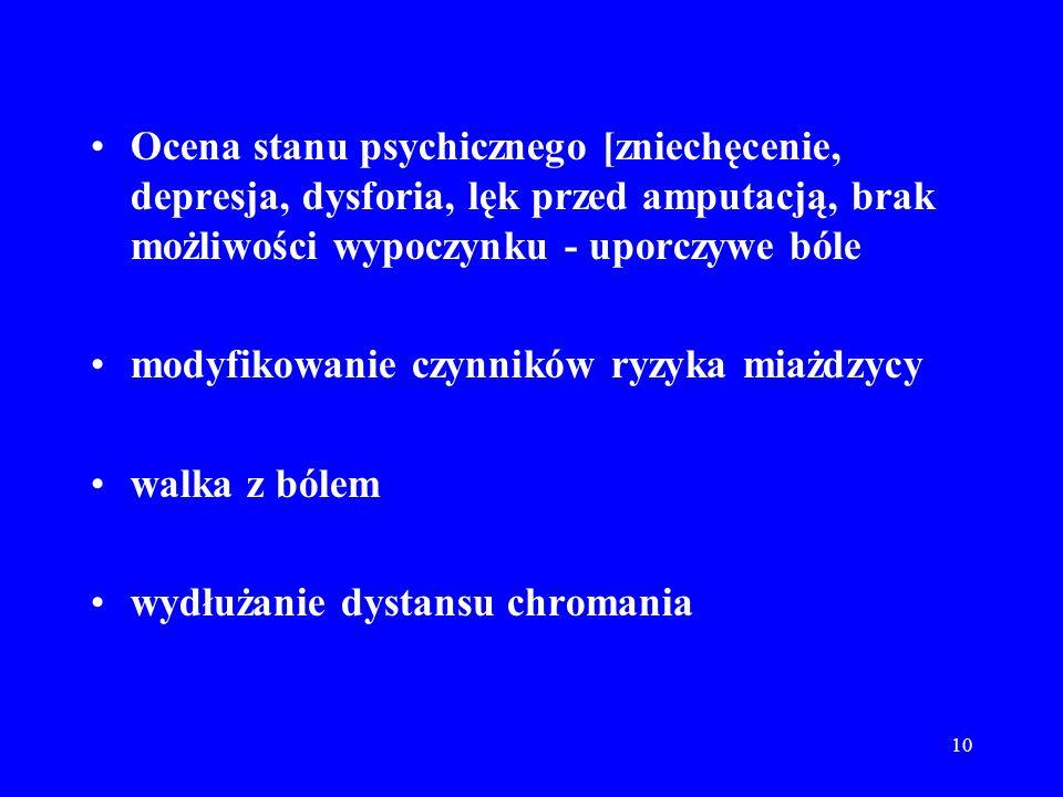 Ocena stanu psychicznego [zniechęcenie, depresja, dysforia, lęk przed amputacją, brak możliwości wypoczynku - uporczywe bóle